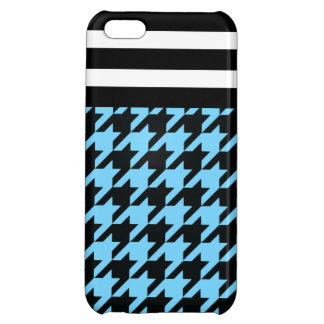 Sky Blue Houndstooth w/ Stripes 2 iPhone 5C Cover