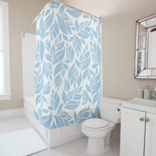 Sky Blue Leaves Shower Curtain