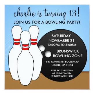 Sky Blue Let's Have a Ball Bowling Party Card