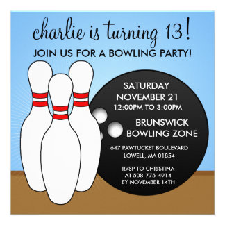 Sky Blue Let's Have a Ball Bowling Party Invitation