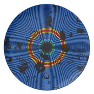 Sky Blue Multicolor Vinyl Disc Texture Pattern Plate