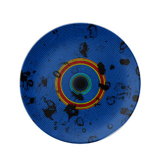 Sky Blue Multicolored Vinyl Disc Texture Pattern Plate
