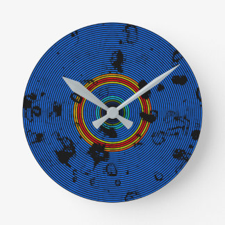 Sky Blue Multicolored Vinyl Disc Texture Pattern Round Clock