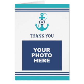 Sky Blue Nautical Photo Thank You Card