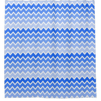 Sky Blue Ombre Chevron Pattern Girl Bathroom