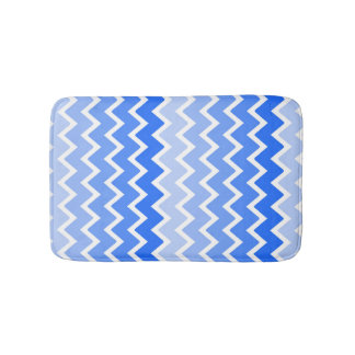 Sky Blue Ombre Chevron Pattern Girl Bathroom Bath Mat