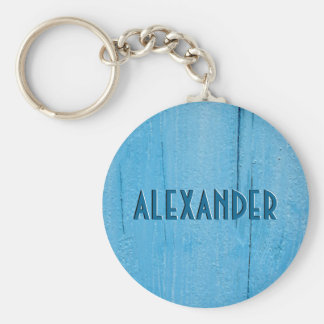 Sky Blue Painted Wood Faux Carved Name Basic Round Button Keychain