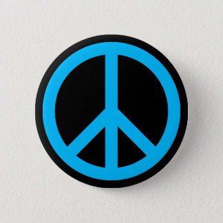 Sky Blue Peace Symbol 2 Inch Round Button