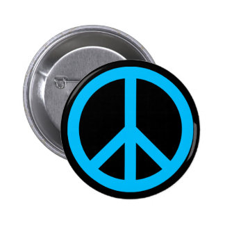 Sky Blue Peace Symbol 2 Inch Round Button