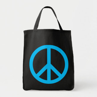 Sky Blue Peace Symbol Grocery Tote Bag