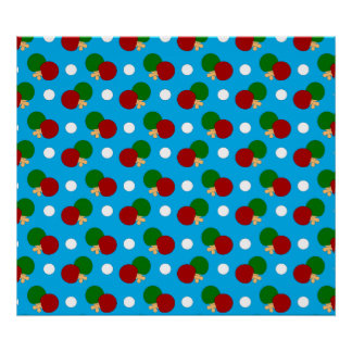Sky blue ping pong pattern poster