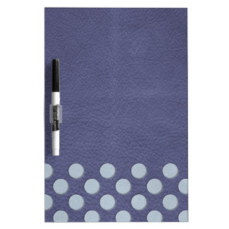 Sky Blue Polka Dots on Slate Blue Leather Print Dry Erase Whiteboards