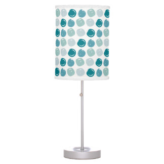Sky Blue Polka Dots Pattern Table Lamp