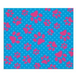 Sky blue polka dots pink dog paws poster