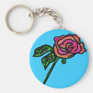 Sky blue rose keychain
