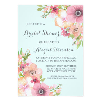 "Sky Blue Rustic Pink Flowers Bridal Shower 5"" X 7"" Invitation Card"