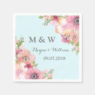 Sky Blue Rustic Pink Flowers Wedding Monogram Paper Napkin