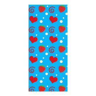 Sky blue strawberries flowers hearts swirls rack card template