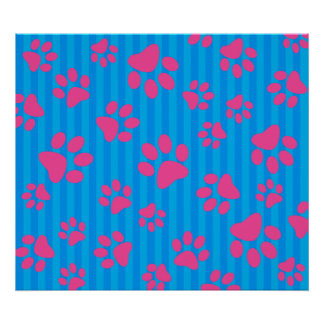 Sky blue stripes pink dog paws poster