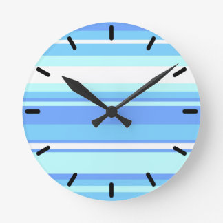 Sky blue stripes wallclock