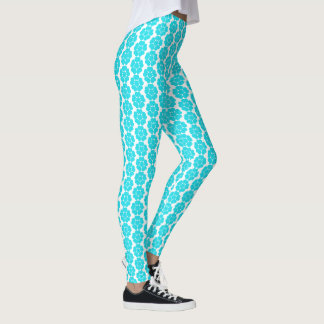 Sky Blue Vintage Abstract Round Flower Design Leggings