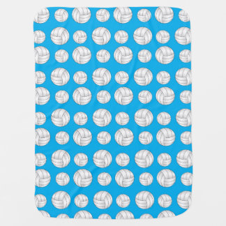 Sky blue volleyballs pattern stroller blanket