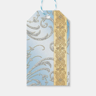 Sky Blue w Silver flourish & Gold Braid Pack Of Gift Tags