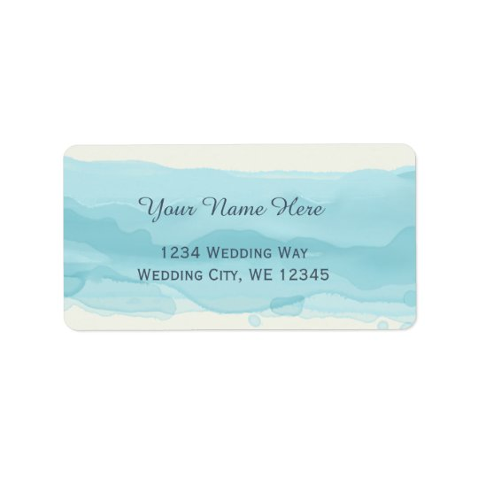 Sky blue watercolor painted brush strokes label