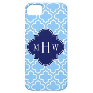 Sky Blue White Moroccan #6 Navy 3 Initial Monogram iPhone 5 Cases