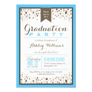 Sky Blue, White, & Taupe Modern Graduation Party Card