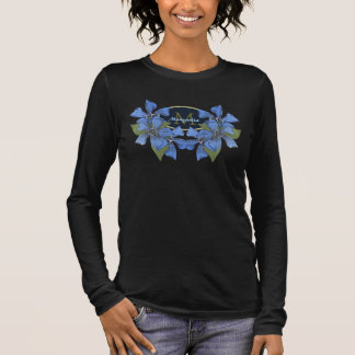 Sky Blue Wildflowers Monogram Long Sleeve T-Shirt