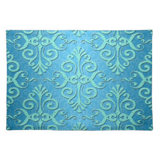 Sky Blue with Teal Fancy Damask Place Mats
