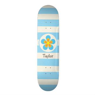 Sky Blue, Yellow, & Orange Flower; Stripes Skate Deck
