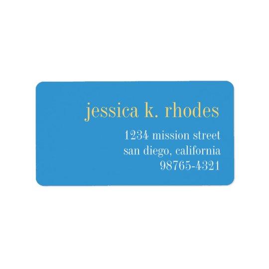 Sky blue yellow typography modern return address