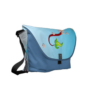 Sky, Cherry Branches & Butterflies Vector Art Messenger Bag