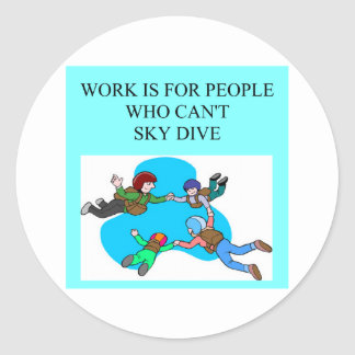 sky diver gifts classic round sticker