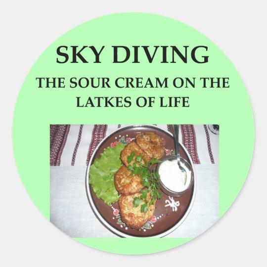 sky diving classic round sticker