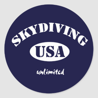 Sky Diving USA unlimited Classic Round Sticker
