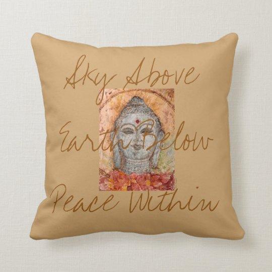 Sky Earth Peace Buddha Watercolor Art Pillow