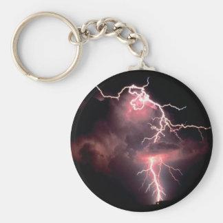 Sky Electric Evening Lightning Basic Round Button Keychain