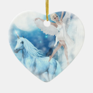 Sky Faerie Asparas and Unicorn Vignette Ceramic Ornament