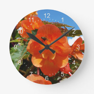 sky, flowers and bee round clock