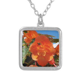 sky, flowers and bee silver plated necklace