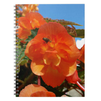 sky, flowers and bee spiral notebook