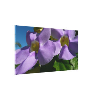 Sky Flowers Blue Tropical Climbing Floral Canvas Print