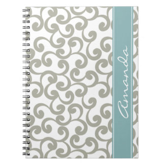 Sky Gray Monogrammed Elements Print Notebook
