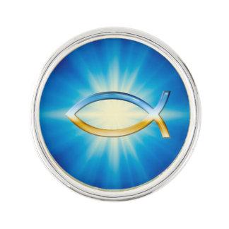 Sky & Ground Ichthus Christian Symbol Lapel Pin