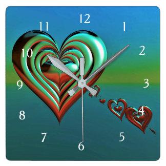 Sky High Hearts Square Wall Clock