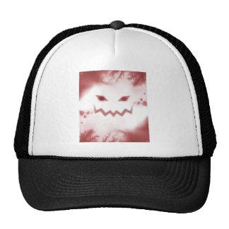 SKY JACK Spooky Jack O Lantern Face Wht Red Trucker Hat