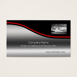 Sky Lamb Clouds, Red Swoosh on metallic-effect Business Card